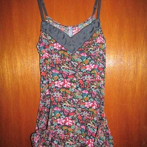 FREE PEOPLE print tank pockets ties side zip sz 4